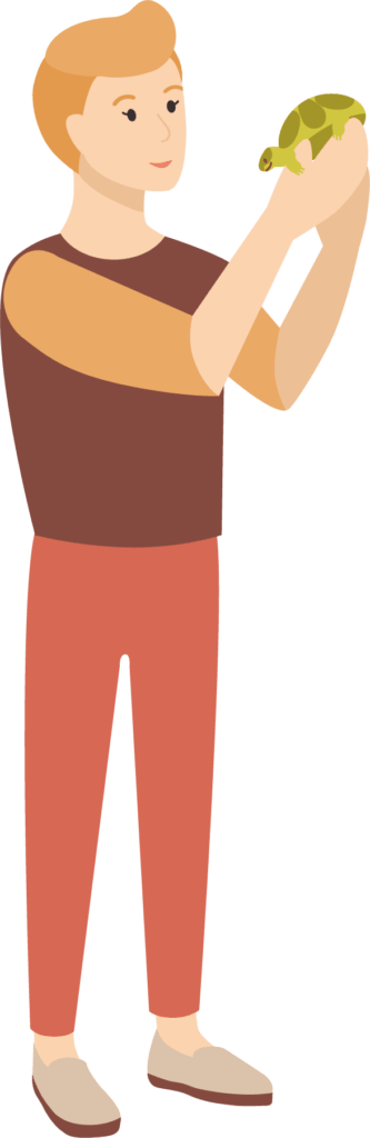 Image: Man holding a tortoise
